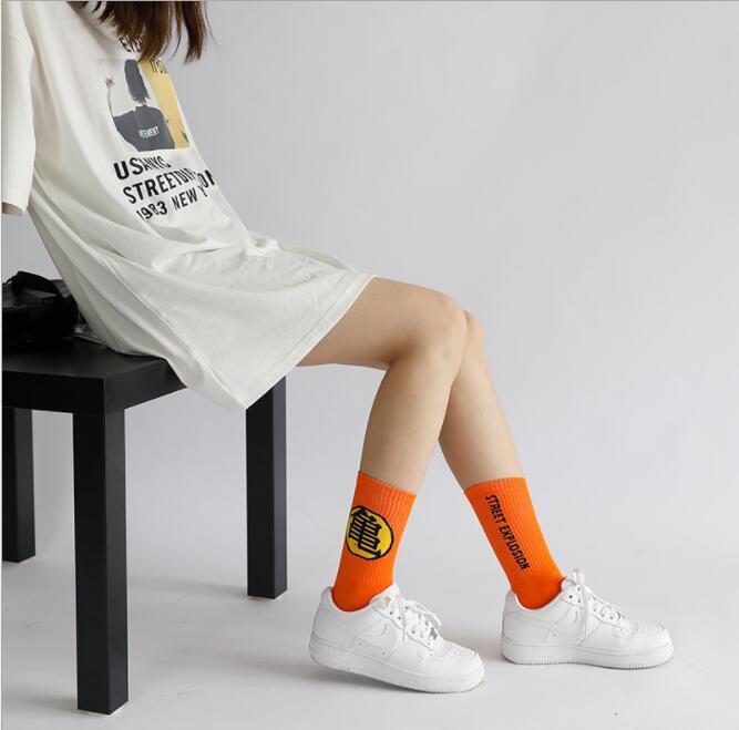 Calcetines de skate con estampado de Goku de moda Calcetines de moda para hombre para mujer Medias de moda sobre amante de tobillo Calcetines de dibujos animados Medias de mezcla Cutton