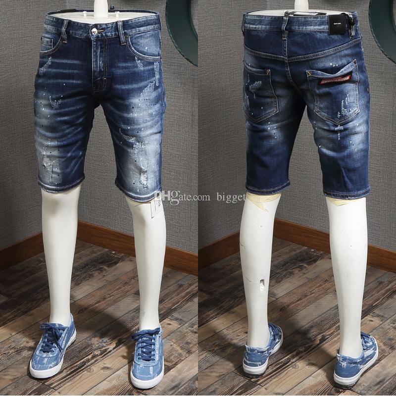 Plus Size 38 Man Distressed Denim Shorts Stonewashed Paint Splatter Effect Art Patches Denim Short Toursers