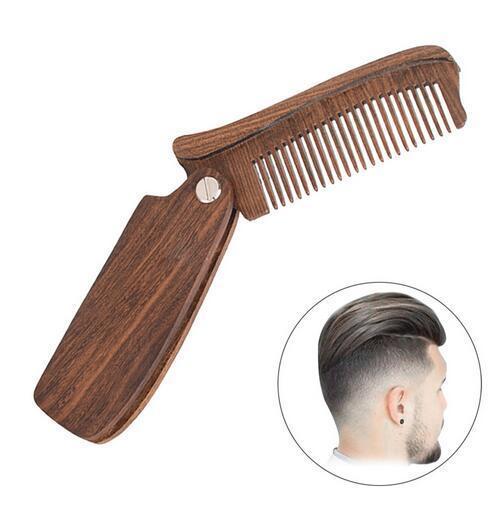 Profesyonel Sakal Tarak Yeşil / Kırmızı Sandal Ağacı Katlanır Sakal Bakım Araçları Tarak Erkek Kadınlar Ahşap Saç Fırçalar