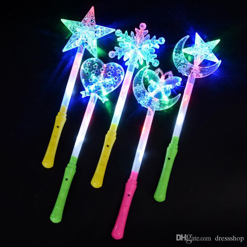 Concierto apoyos colorido resplandor estrella de cinco puntas resplandor palos estrellas deben ayudar a las luces intermitentes para ampliar la oferta del mercado noche