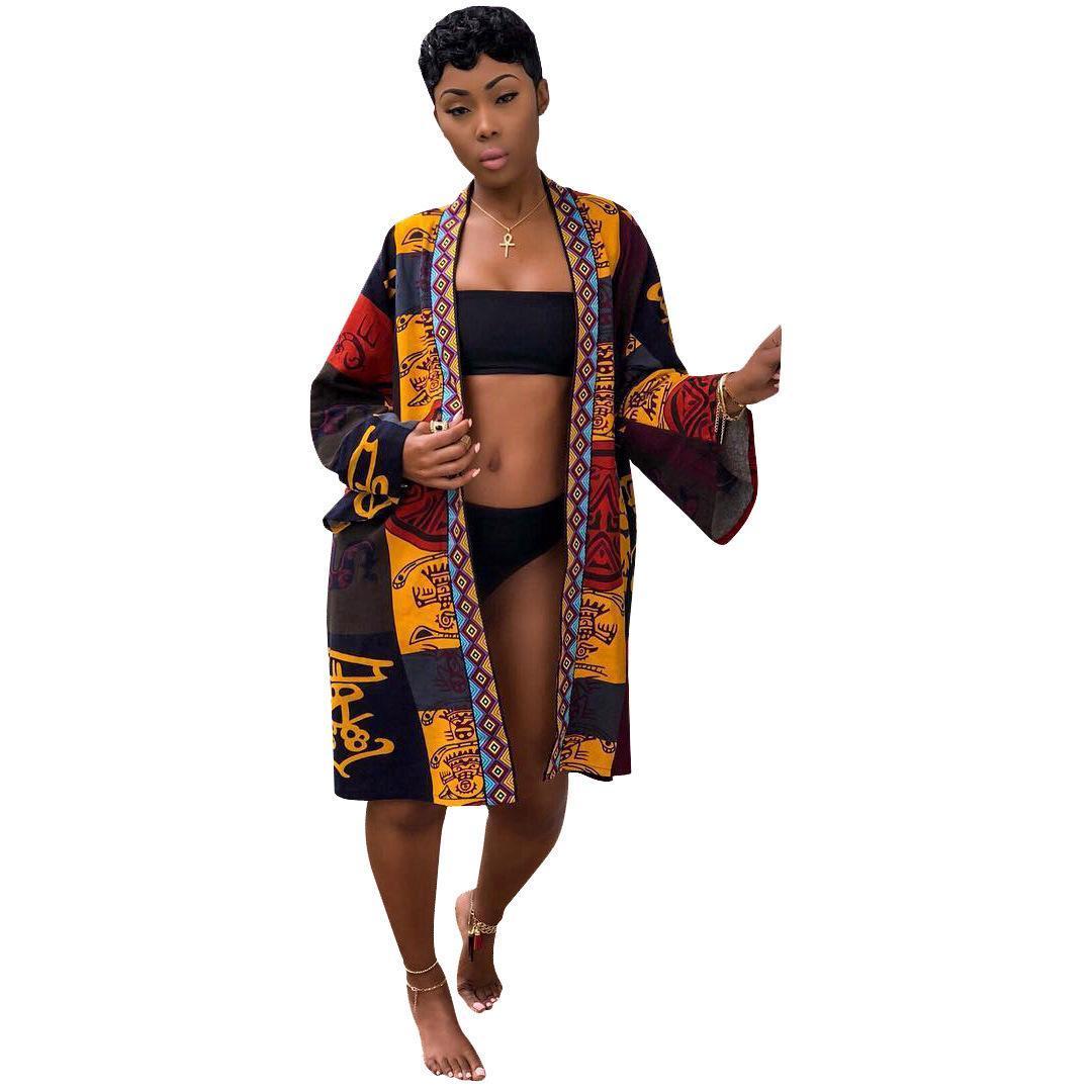 Estate Accappatoio tipo giacca Vintage Flora Stampa Cappotti per la donna progettista delle donne moda giacche Medio Lungo