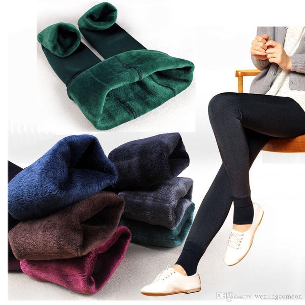 Ragazze da donna Autunno e Inverno Alta elasticità Velluto finto spesso Caldo Pantaloni a vita alta Foderato in pile Leggings elastici