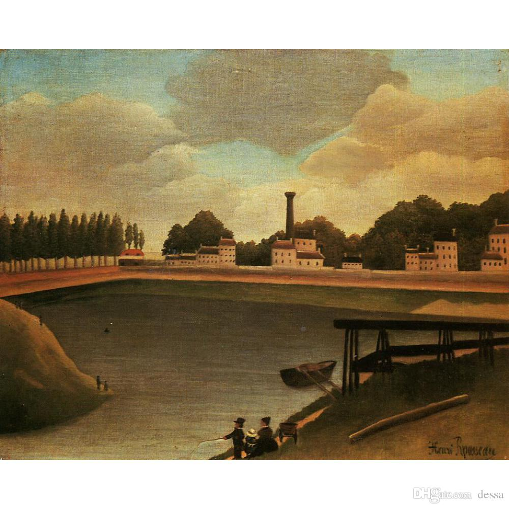 Henri Rousseau paintings Family Fishing canvas artwork for office wall decor large hand painted