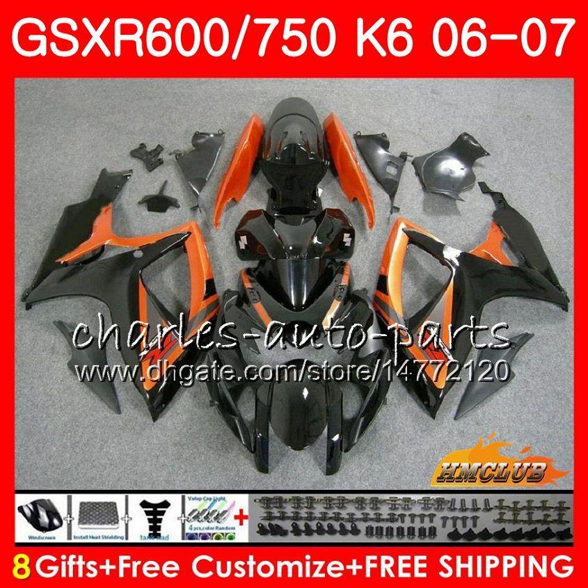 Body For SUZUKI GSX R600 GSX R750 GSXR600 2006 2007 8HC.62 Orange black GSX-R600 GSXR-750 K6 GSXR 600 750 06-07 GSXR750 06 07 Fairing kit