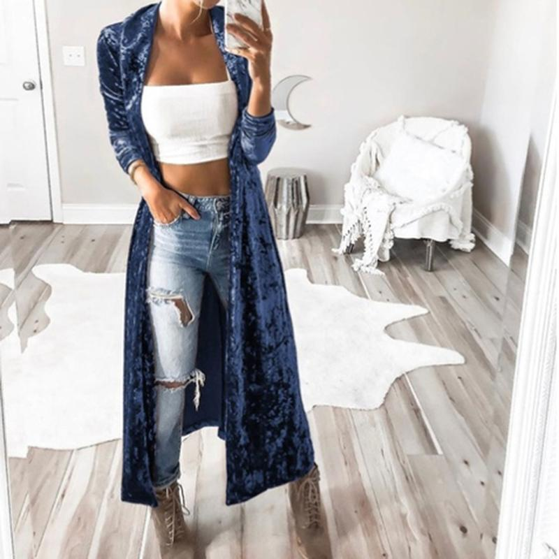 Casual Woman Trench New Fashion Long-sleeved Long Trench Coat Cardigan For Feminina Robe Femme Long Coat Outerwear