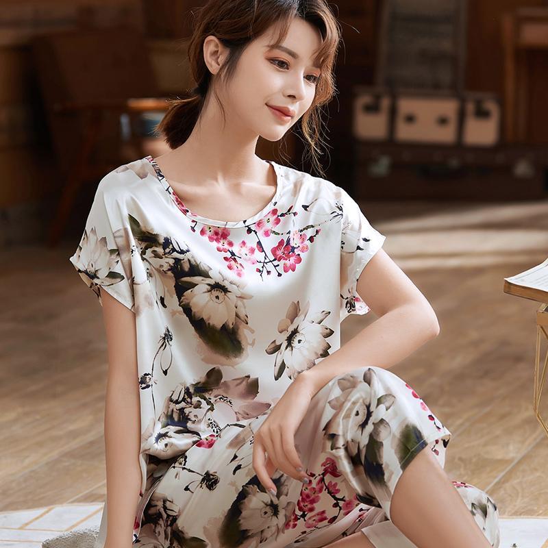 Yaz Çiçek Baskı 110kg Kadınlar İpek Pijama Takımı Kırpılmış Pantolon Kısa Kollu Pijama O Boyun Büyük Beden Pijama Takımı L-5XL 4012