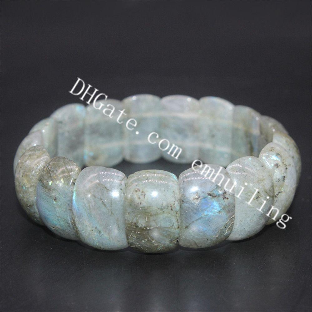 10Pcs Natural Gray Labradorite Rainbow Lights 15mm 20mm Nuggets Beads Bracelet Genuine Moonstone Spectrolite Stone Elastic Bracelet Healing