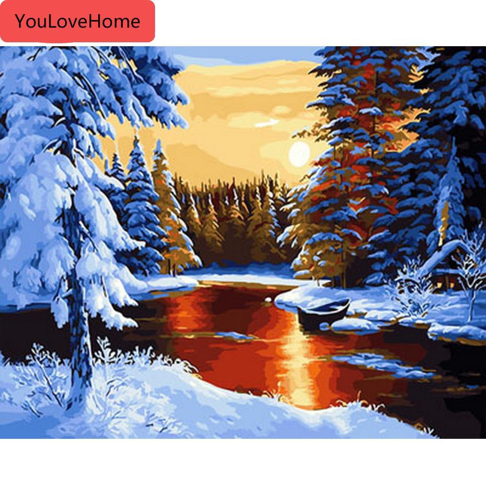 Las pinturas de números de dibujo de invierno en los kits de arte pintadas a mano de lona de bricolaje Regalo Decoración