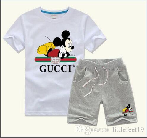 ropa de niño bebé fija la camiseta de los niños Conjuntos de ropa de la muchacha del bebé 1-7 años del bebé del verano del juego ocasional del juego 2pcs / set