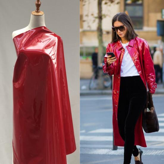 Bright Dark red mirror leather elastic PU imitation leather Christmas party fabric coat handbag waterproof gloves diy textiles fabric,A516
