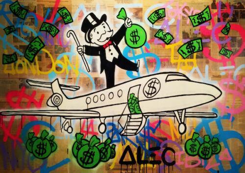 Alec Monopoly Graffiti arte decoração Avião Home Decor pintado à mão HD impressão pintura a óleo sobre tela Wall Art Canvas Pictures 200203