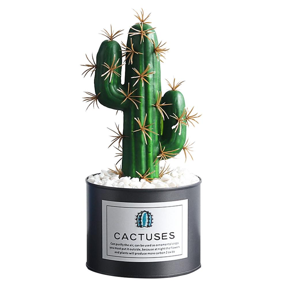 Simulation Cactus Vintage Style Artificial Plant Pot Table Top Lifelike Green Plants Decoration Colorful