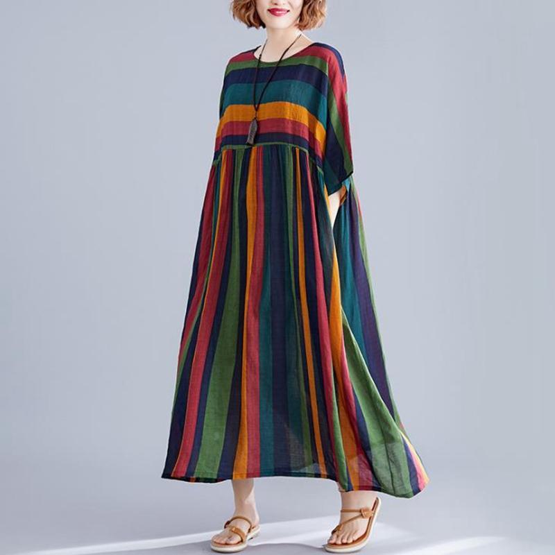 2020 Yaz Kadın Giydirme Plus Size 4XL 5XL 6XL 7XL 8XL Çizgili Mori Kız Kadınlar Elbise Pamuk Büyük Beden Elbise Ve pantolonlar