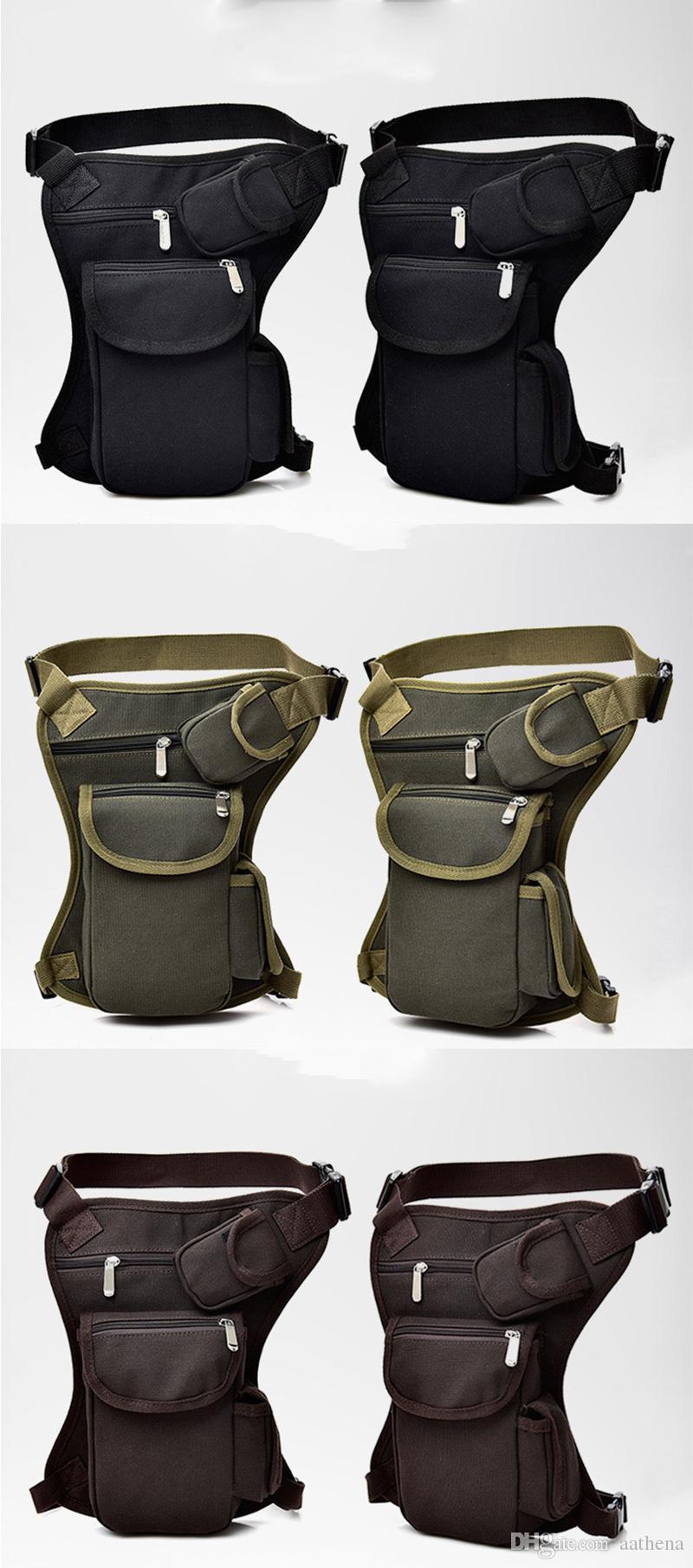 Cyclisme Toile Sac de taille extérieure tactique design multi-fonction fannypack Sac jambes Loisirs Sports Pêche Sac vitesse