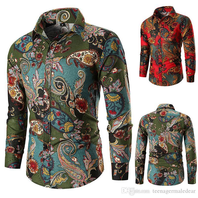 Floral Mens camisas ocasionales Impreso de manga larga solapa cuello Adolescente camisas para hombre de la manera del otoño de diseño camisas