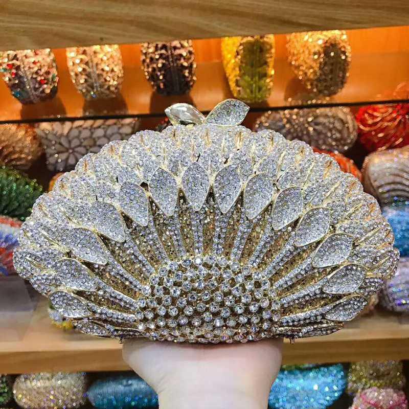 XIYUAN White Crystal Gold Metal Clutch Purse Rhinestone Gemstone Women Evening Wedding Bridal Shoulder Messenger Bag