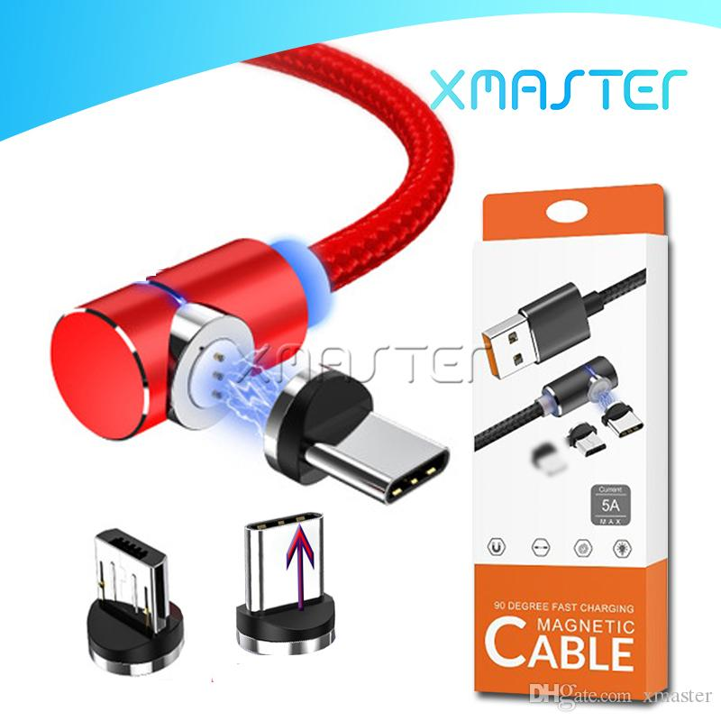 2.4A Micro USB Sync Data Cable Quick Charger Type C 1M LED Line Strong Magnetic High Speed Chargers with Retail Package xmaster