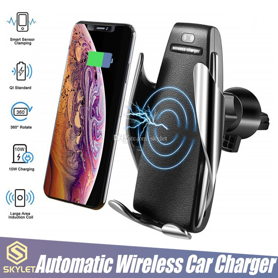 S5 Беспроводное зарядное устройство Автоматическое зажимное Автомобильное Зарядное устройство Держатель Монтаж Умный датчик 10W Быстрое зарядное зарядное устройство для iPhone Samsung Универсальные телефоны