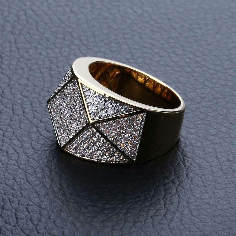 iced out rings for men hip hop luxury designer mens bling diamond argyle ring 18k gold plated wedding engagement gold Ring jewelry bf gift