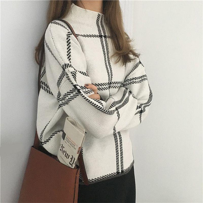 2019 Autunno Inverno Nuovi pullover a quadri Maglioni Donna Elegante Maglione a maniche lunghe lavorato a maglia fine Maglione femminile Maglieria MujerMX190820