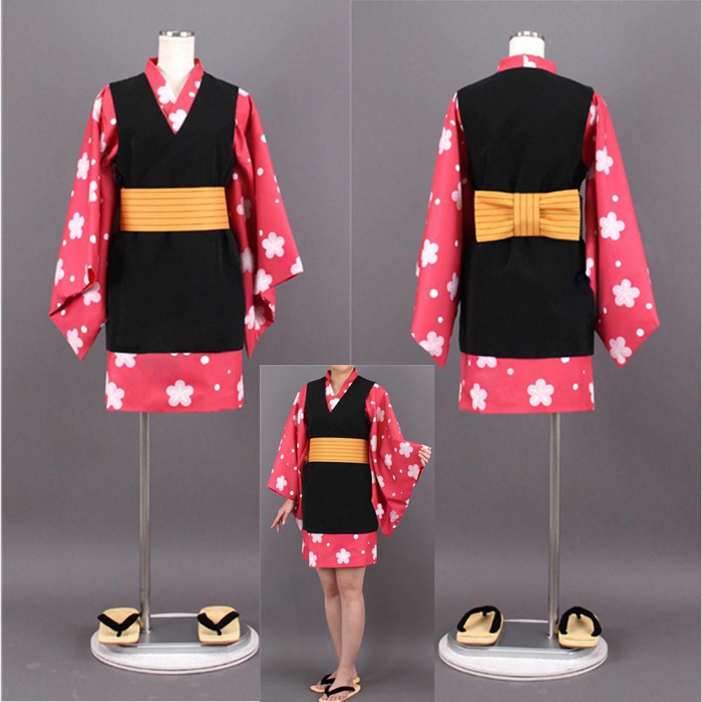 Tueur de démons: Kimetsu No Yaiba Makomo Uniformes de Kimono Costume Cosplay Costume Halloween Robe