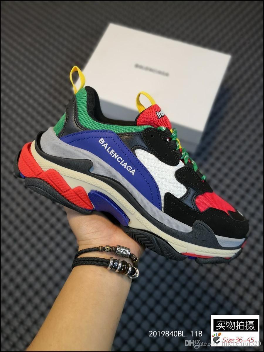 Тройной Платформа кроссовки для мужчин Женщины Chaussures Париж 17FW Тройной Черный Кремовый Желтый Красный Повседневная обувь класса люкс обувь 36 45 270