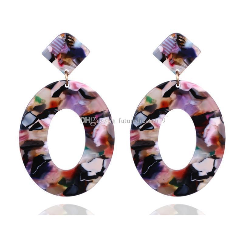 Moda Resina Acrílica Oval Dangle brincos para Mulheres leopardo Acetato longo Dangle Brincos Bohemia presentes jóias combinação de cores