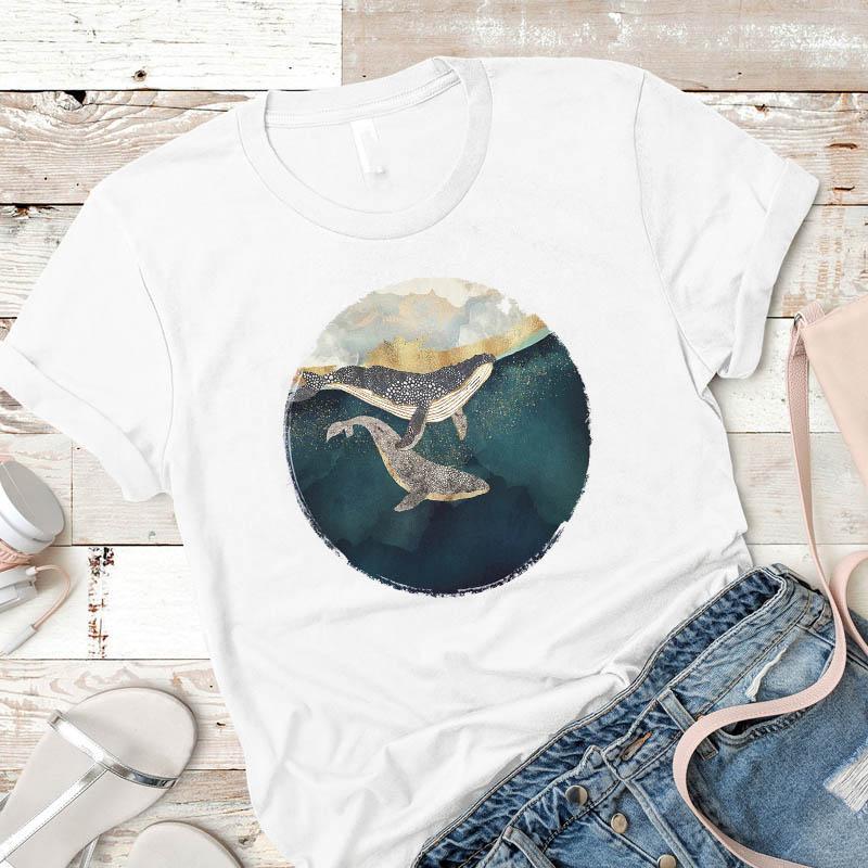 Mujeres camiseta para mujer ballena Paiting moda unisex Damas Mujer Hombre Camisa tshirt camiseta impresa Gráfico ropa de la tapa camiseta