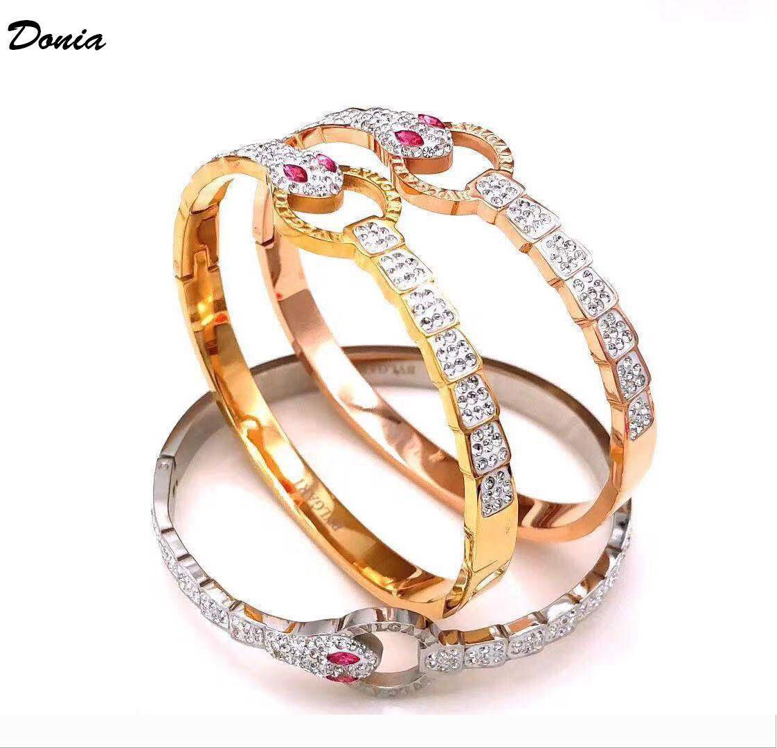 Donia jóias de luxo de moda exagero micro inlay cor zircão ajustável Bracelet feroz padrão animal presente de aniversário do partido