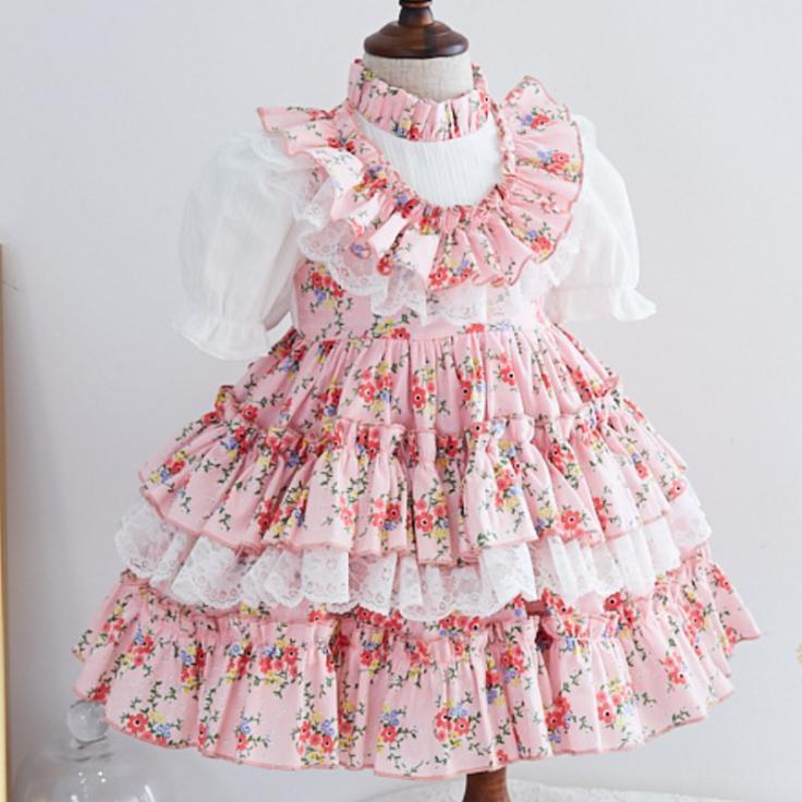 Yaz Lolita İspanyol prenses elbise kız için Kolsuz Balo Vintage Doğum Paskalya Parti Elbise yazdır Çiçek