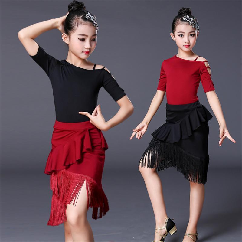 Latin Dance Dress Kids Dresses for Girls Ballroom Flamenco Short Sleeve Tassel Competition Practice Wear Top Skirt Set 110-160CM