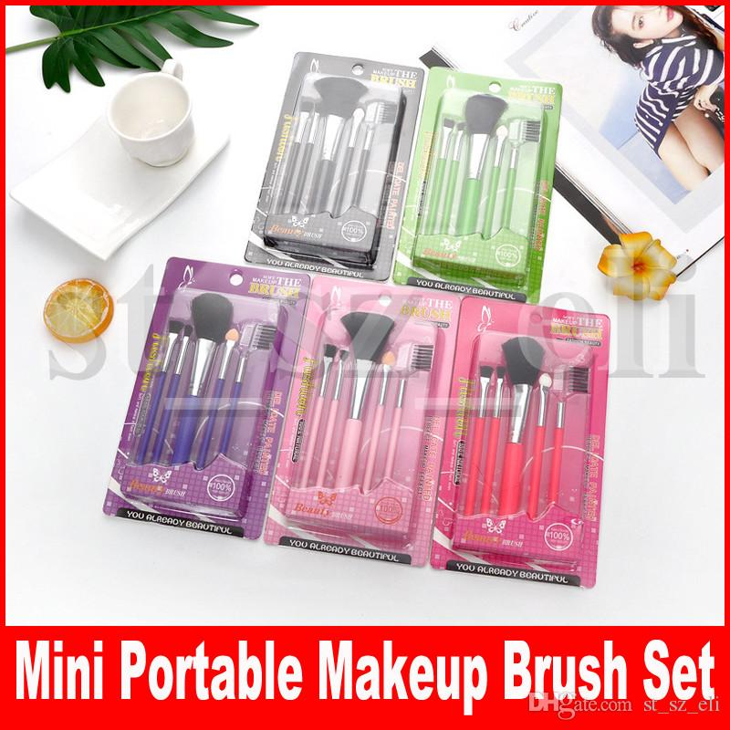 5 Pcs Travel Portable Makeup Brushes Set Professional Eye Shadow Cosmetic Brush Eyebrow Lip Make Up Brushes Tool
