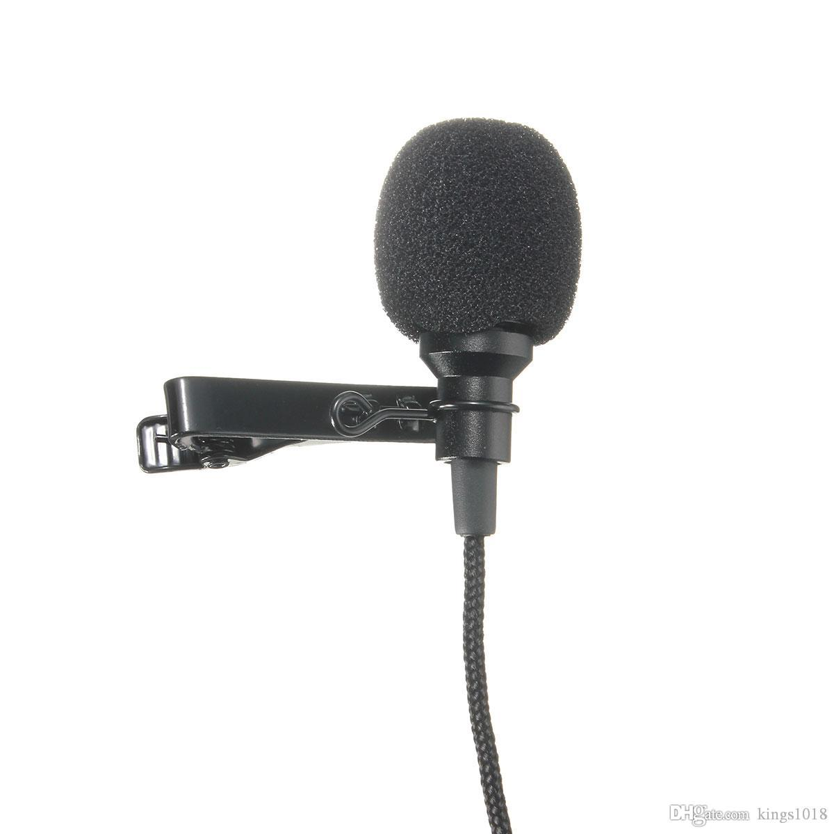 2019 hot sale Black Metal 3.5mm Jack Microphone Lavalier Tie Clip Microphones Microfono Mini Mic For Speaking Speech Lectures 2.4m Cable
