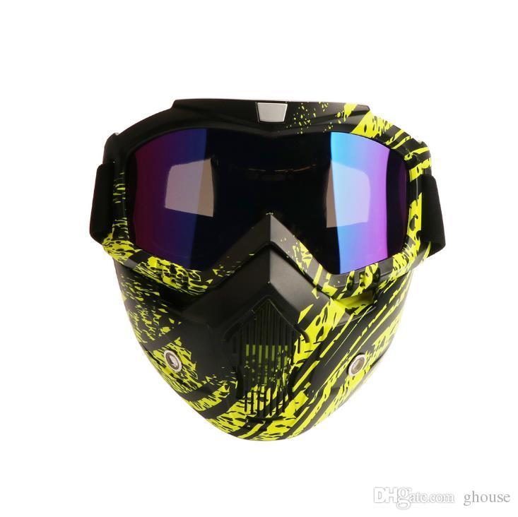 Yeni moda tasarımcısı motosiklet gözlük maske Kayak Gözlük gözlük çıkarılabilir motosiklet gözlük UV koruma Kar Kayak Maskesi