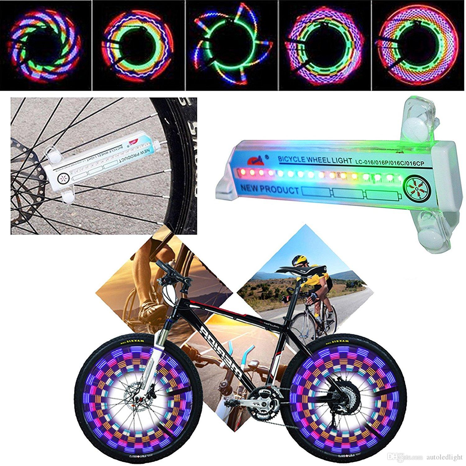 Lights Sports and Outdoors Colorful Bicycle Bike Cycling Wheel Spoke Light 32 LED pattern Waterproof Accessories