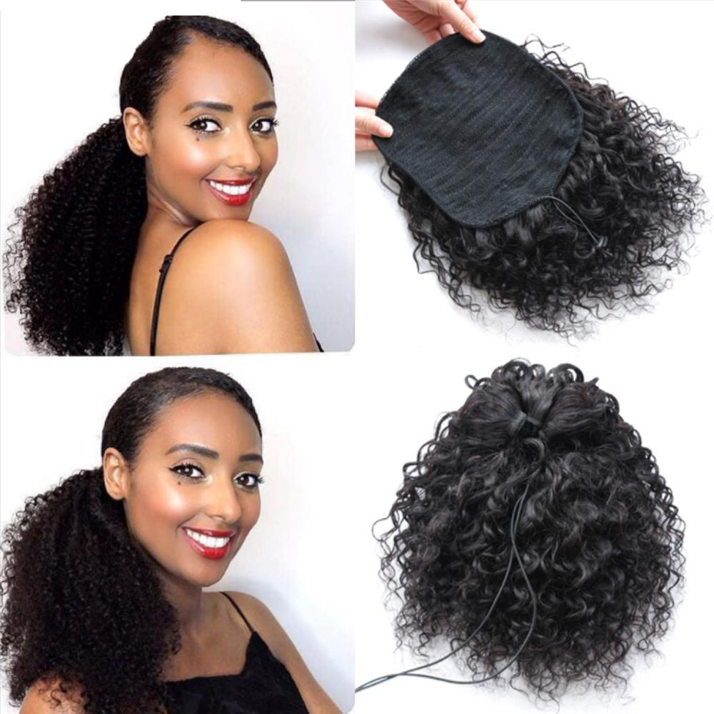 Remy pelo afro rizado rizado Cola de caballo Cola de caballo con cordón humano brasileño 1 Pieza Clip en extensiones de cabello 1B cola de potro para las mujeres