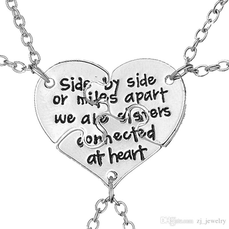 3 pcs/set Friendship Jewelry Hand Stamped Side By Side Or Miles Apart We Are Sisters Connected At Heart Sister BFF Necklace 8