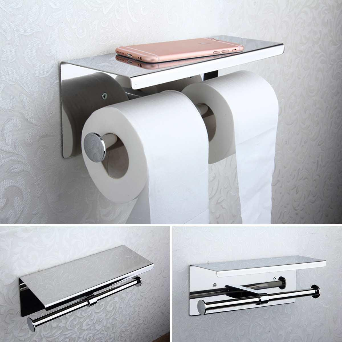 Toilet Paper Holder Wall Mount Tissue Roll Hanger Two Rolls with Mobile Phone Shelf Bath Towel Storage Stainless Steel Holder