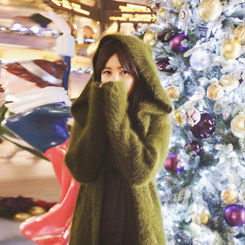 Mejor venta de la capilla natural visón cachemira suéter largo de la cachemira real rebecas de las mujeres con capucha modifique para requisitos particulares más el tamaño CJ191220 wsr538