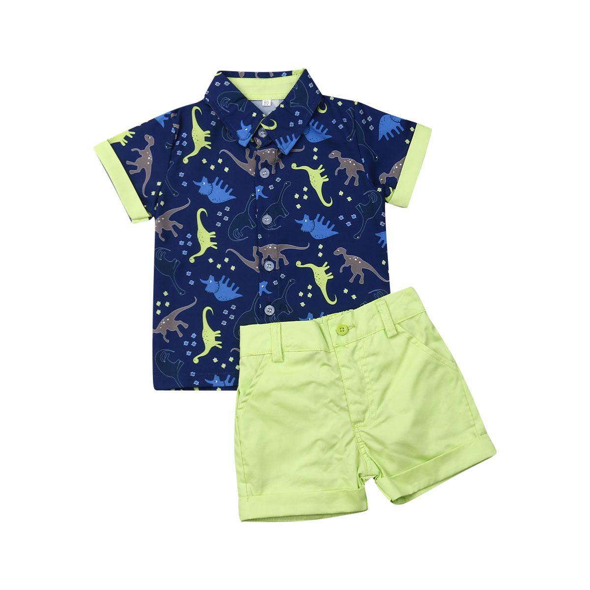 Niño recién nacido para niños Niños bebés ropa de la manga corta de los dinosaurios camiseta de la impresión de las tapas + los pantalones cortos Equipos Conjuntos