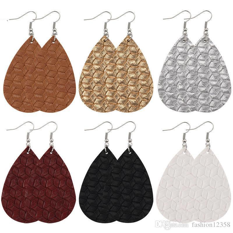 2020 orecchini di cuoio nuovo modo intessuta di griglia per i monili delle ragazze delle donne colorato goccia dell'acqua ciondola PU orecchini regalo di Natale