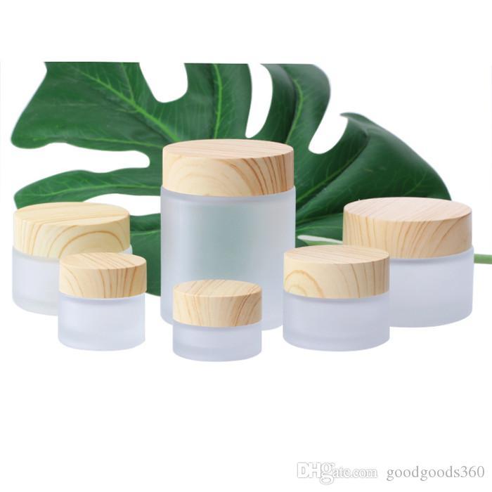 Mejor loción botella de madera crema exfoliante venta de alta calidad caja de crema de vidrio esmerilado grano cara cuadro de nata líquida fundación SZ436