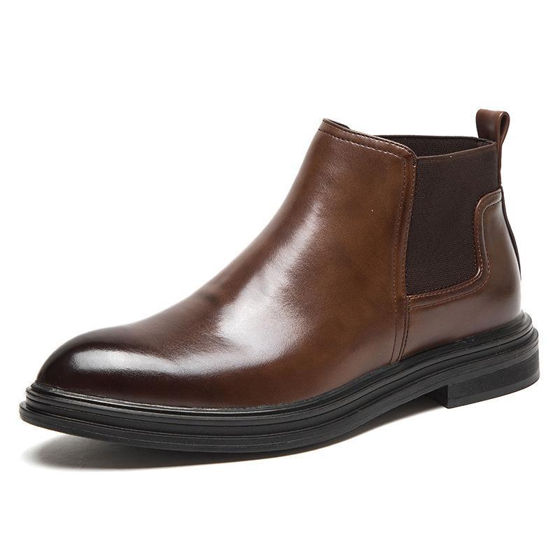 الرجال الأحذية قصيرة زلة الكاحل الكلاسيكية على الاحذية أصابع لامعة أحذية الكاحل انجلترا الأحذية عارضة رجل الترفيهية الأحذية المطاطية
