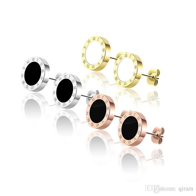 Heißer verkauf modemarke titanium stahl römischen liebe ohrringe für frau schmuck 18 karat vergoldet silber / rose in schwarz und weiß für frau geschenk