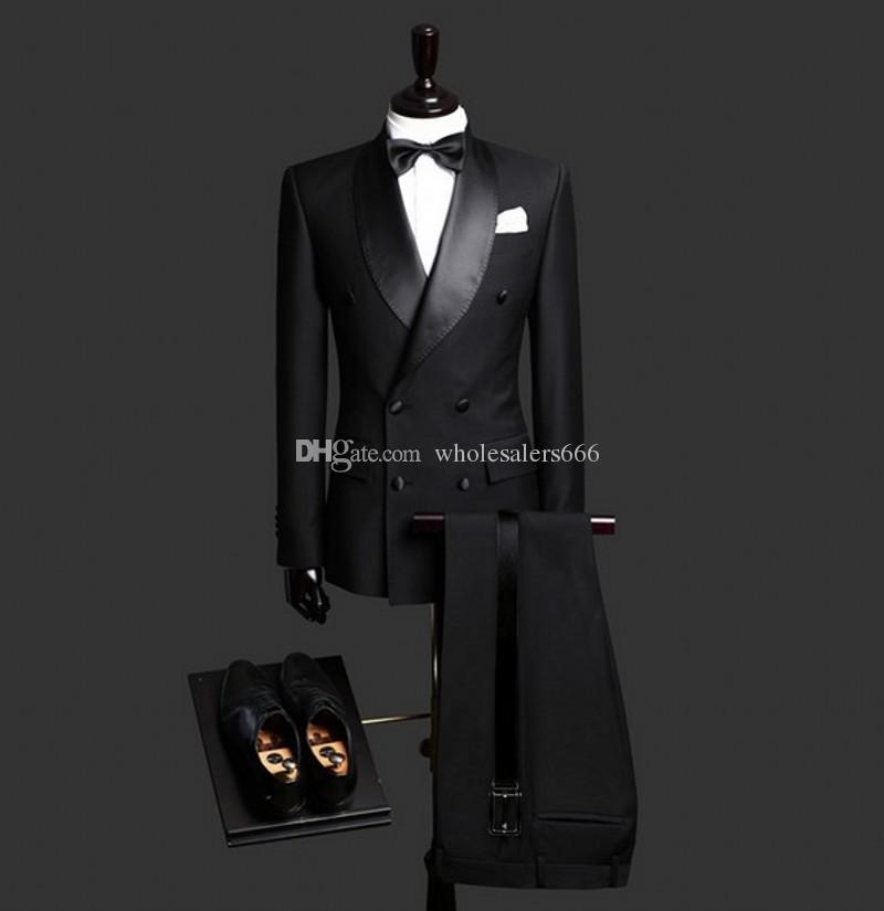 2019 New Grey Double Breasted Groom Tuxedos Groomsmen Blazer Wedding Prom Suits+