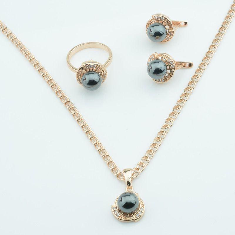 FJ nero delle donne simulati Peal Orecchini Anelli ciondolo 585 colore dell'oro di cristallo Jewelry Set + grande collana opzionale Dimensioni