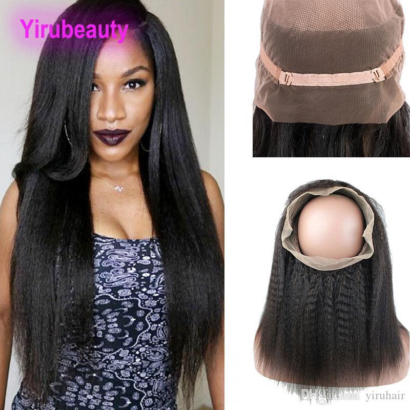 Индийские Virgin Hair 360 кружева Frontal Procucked kinky прямой натуральный цвет человеческие волосы предварительно сорванные регулируемые полосы кружева фронтальные 10-24 дюйма