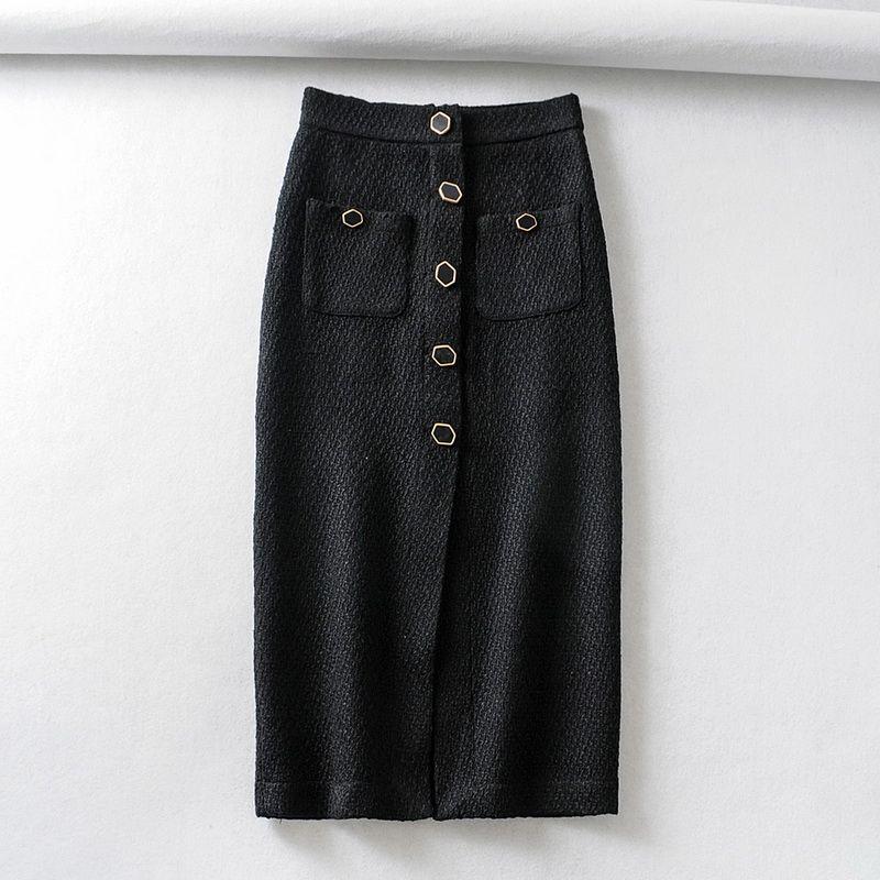 El otoño y el invierno de las mujeres de la falda 2019 nueva personalidad de botones de la moda moderna de bolsillo Señora Negro Faldas