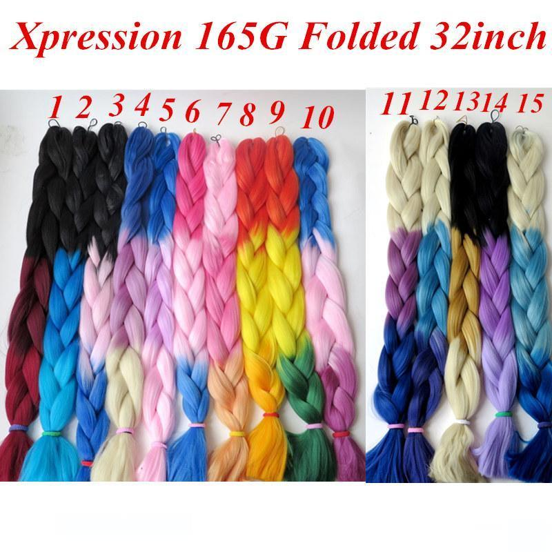 Ombre Synthetic Jumbo Braiding Hair 165g Folded 32inch Ombre Three Color Crochet braids Twist Synthetic Hair extensions