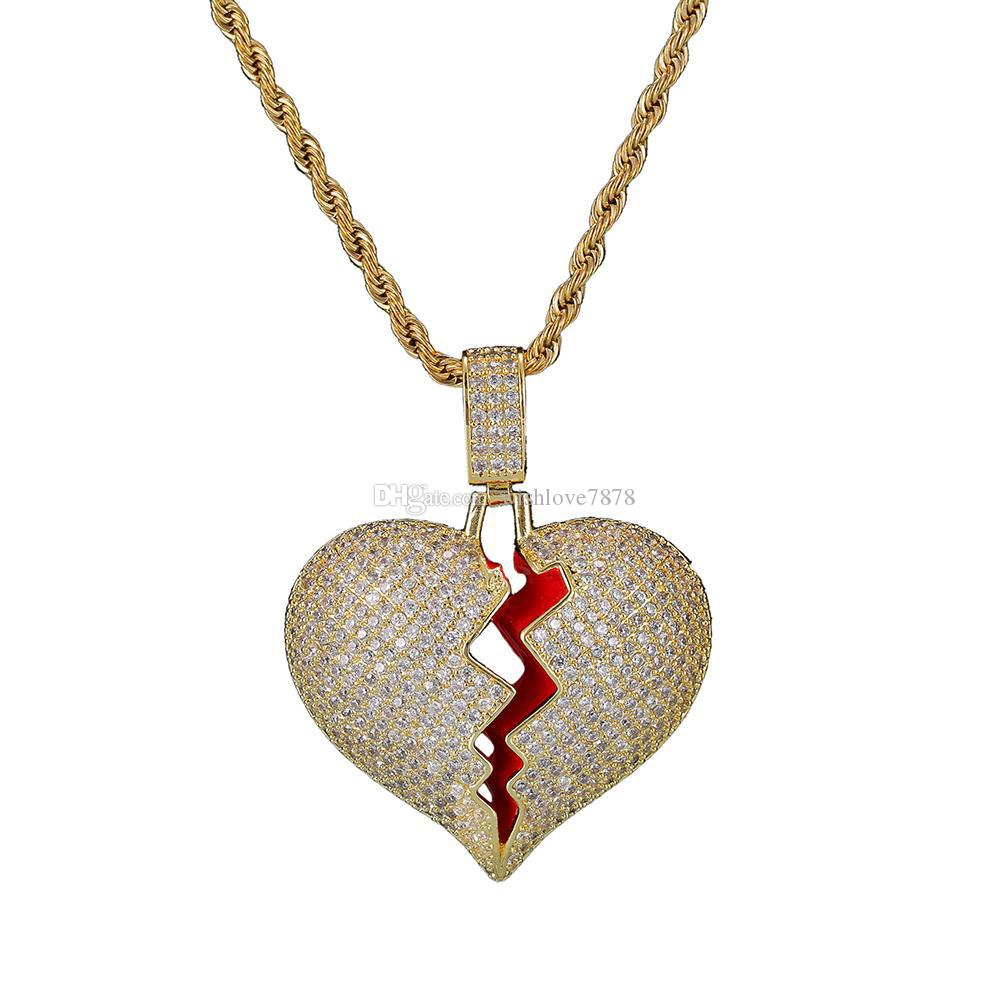 Iced out cz Broken Heart Pendant Necklace Men Women Hip Hop Bling Gold Silver Color Charms Chain Jewelry